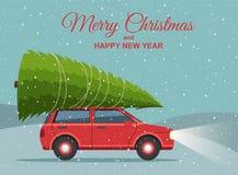 С Рождеством Христовым и с новым годом Ландшафт зимы праздника снежный с красными автомобилем и рождественской елкой на верхней ч иллюстрация штока