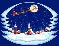 С Рождеством Христовым и с новым годом Поздравительная открытка в форме деревьев Санта Клаус, луна, снег, дома, церковь бесплатная иллюстрация
