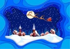 С Рождеством Христовым и с новым годом Поздравительная открытка в рамках с тенями Санта Клаус, луна, снег, дома, церковь иллюстрация штока