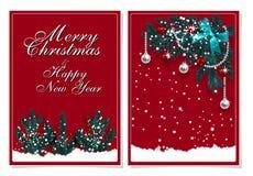 С Рождеством Христовым и с новым годом Поздравительная открытка с украшениями на рождественской елке и снеге иллюстрация иллюстрация штока