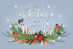 С Рождеством Христовым и с новым годом Праздничная предпосылка с ветвями ели, пара милых птиц и снежности иллюстрация штока