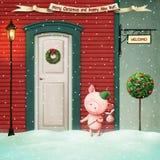 С Рождеством Христовым и с новым годом! иллюстрация вектора