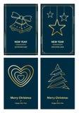 С Рождеством Христовым и поздравительная открытка Новый Год Стоковое Изображение RF