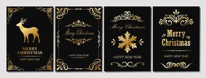 С Рождеством Христовым и поздравительная открытка Новый Год Стоковые Фотографии RF