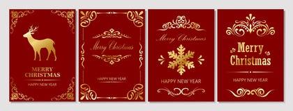С Рождеством Христовым и поздравительная открытка Новый Год Стоковое Изображение