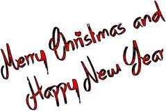 С Рождеством Христовым и счастливая иллюстрация знака текста Нового Года стоковые фотографии rf