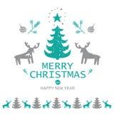 С Рождеством Христовым и счастливая иллюстрация Нового Года иллюстрация штока