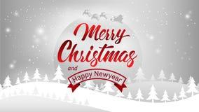 С Рождеством Христовым и счастливая каллиграфия оформления Нового Года Сезонная литерность знамя дизайна плана предпосылки иллюст Стоковые Изображения