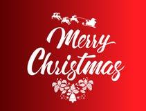 С Рождеством Христовым и счастливая каллиграфия оформления Нового Года Сезонная литерность знамя дизайна плана предпосылки иллюст Стоковое Изображение RF