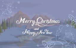 С Рождеством Христовым и счастливая литерность руки Нового Года Дизайн вектора Нового Года для поздравительной открытки Праздник  стоковые фотографии rf