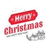 С Рождеством Христовым и счастливая надпись литерности руки Нового Года Иллюстрация вектора для поздравительной открытки иллюстрация штока