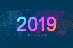 С Рождеством Христовым и счастливая Нового Года поздравительная открытка 2019 Современный футуристический шаблон на 2019 Визуализ иллюстрация вектора