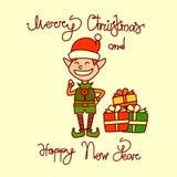 С Рождеством Христовым и счастливая поздравительная открытка Нового Года при нарисованная рука мальчика эльфа праздника помечающ  Стоковые Фотографии RF