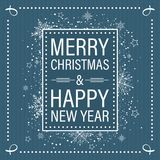С Рождеством Христовым и счастливая поздравительная открытка Нового Года в ретро плоском стиле с декоративными рамкой, снегом, зв бесплатная иллюстрация