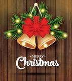 С Рождеством Христовым и счастливая поздравительная открытка Нового Года с елью b иллюстрация вектора
