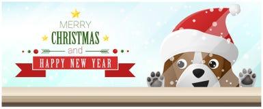 С Рождеством Христовым и счастливая предпосылка Нового Года при собака бигля смотря пустую столешницу иллюстрация вектора