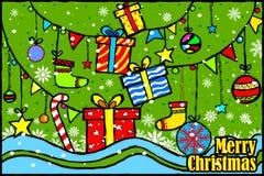 С Рождеством Христовым и счастливая предпосылка приветствиям праздника Нового Года иллюстрация штока