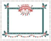 С Рождеством Христовым и счастливая рамка Нового Года иллюстрация вектора