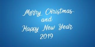 С Рождеством Христовым и счастливый Новый Год 2019 вектор стоковые фото