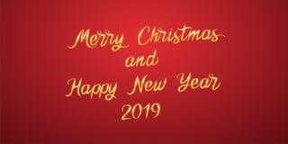 С Рождеством Христовым и счастливый Новый Год 2019 вектор стоковая фотография