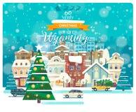 С Рождеством Христовым и счастливый Новый Год в Вайоминге Поздравительная открытка от США Город зимы идя снег с милыми уютными до Бесплатная Иллюстрация