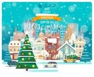 С Рождеством Христовым и счастливый Новый Год в Висконсине Поздравительная открытка от США Город зимы идя снег с милыми уютными д Иллюстрация вектора