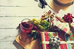 С Рождеством Христовым и счастливый Новый Год празднует сцену Стоковое Фото