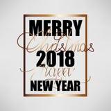 С Рождеством Христовым и счастливый Новый Год 2018 Предпосылка вектора рождества плоская конструированная бесплатная иллюстрация