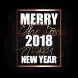 С Рождеством Христовым и счастливый Новый Год 2018 Предпосылка рождества плоская конструированная иллюстрация штока