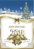 С Рождеством Христовым и счастливый Новый Год 2018 иллюстрация вектора