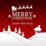 С Рождеством Христовым и счастливый отрезок белой бумаги Нового Года на красном дизайне ночи для вектора партии ночи торжества фе Стоковые Фотографии RF