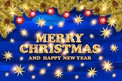 2018 с Рождеством Христовым и счастливых карточек Нового Года с шариками рождества и серпентин на деревянной предпосылке Дизайн т Стоковое Изображение