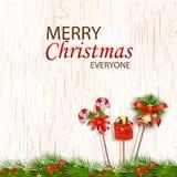 С Рождеством Христовым каждое концепция для дизайна с колоколами звона, свечи ca рогульки, знамени, приглашения, карточки, поздра Стоковые Изображения