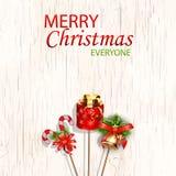 С Рождеством Христовым каждое концепция для дизайна с колоколами звона, свечи ca рогульки, знамени, приглашения, карточки, поздра Стоковое Фото