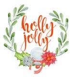 С Рождеством Христовым карточка акварели с флористическими элементами зимы Счастливый падуб цитаты литерности Нового Года весёлый иллюстрация штока