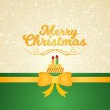 С Рождеством Христовым карточка желания с обернутой лентой бесплатная иллюстрация