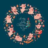 С Рождеством Христовым к вам милые свиньи вектор стоковые изображения rf