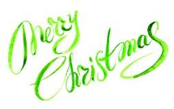 С Рождеством Христовым литерность акварели стоковое изображение rf