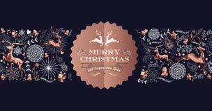 С Рождеством Христовым медная роскошная карточка ярлыка оленей иллюстрация штока