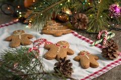 С Рождеством Христовым натюрморт рождества с традиционными печеньями пряника на таблице Семейное торжество Счастливое новое… пиво Стоковые Фотографии RF