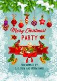 С Рождеством Христовым плакат вектора партии праздника бесплатная иллюстрация