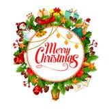 С Рождеством Христовым поздравительная открытка вектора венка иллюстрация вектора