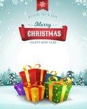 С Рождеством Христовым поздравительная открытка праздников бесплатная иллюстрация