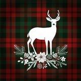 С Рождеством Христовым поздравительная открытка, приглашение Олени с букетом рождества, флористическим украшением Шотландка тарта иллюстрация штока