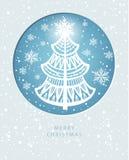 С Рождеством Христовым поздравительная открытка с сосной стоковое изображение rf