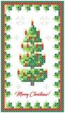 С Рождеством Христовым поздравительная открытка, счастливая иллюстрация Нового Года Рождественская елка с оформлением, как вышивк бесплатная иллюстрация