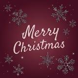 С Рождеством Христовым поздравительная открытка с типографским текстом, сияющими письмами иллюстрация вектора