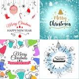 С Рождеством Христовым поздравительная открытка установила с милым деревом xmas, santa и дизайнами оленей ретро Включает безшовно иллюстрация штока