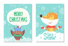 С Рождеством Христовым поздравительные открытки с Fox и сычом Стоковое Изображение RF