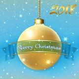 С Рождеством Христовым предпосылка украшения с шариком золота 3d Звезды, яркий блеск, золотая безделушка, голубая лента, белая зи Стоковая Фотография